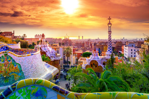 View of the city from Park Guell in Barcelona, Spain View of the city from Park Guell in Barcelona, Spain barcelona spain stock pictures, royalty-free photos & images