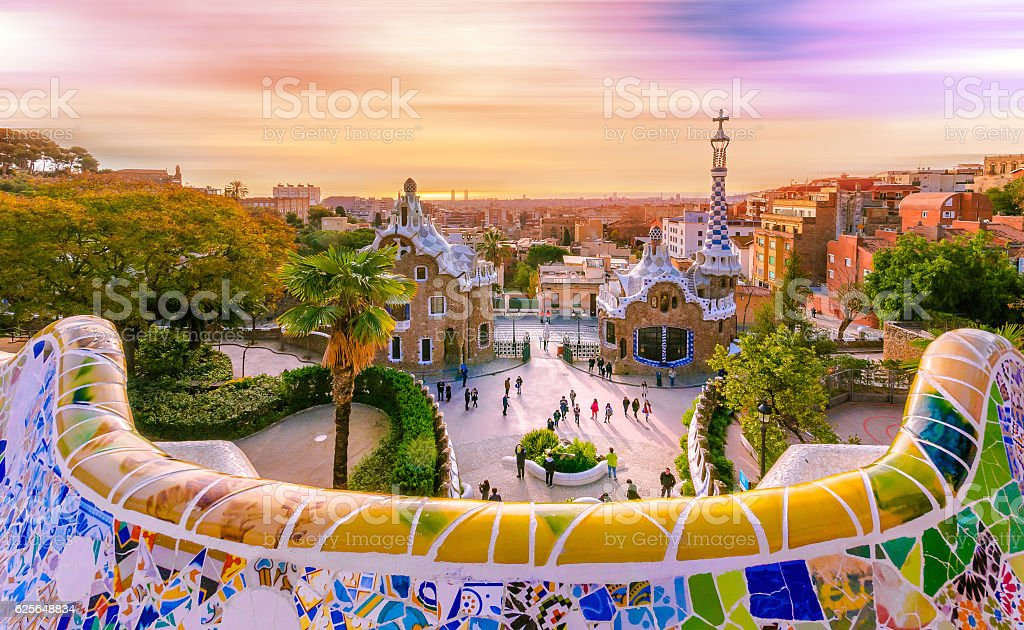 view of the city from park guell in barcelona spain stock photo