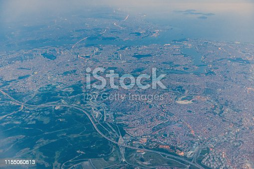 View of the city from the aircraft, Istanbul, Turkey