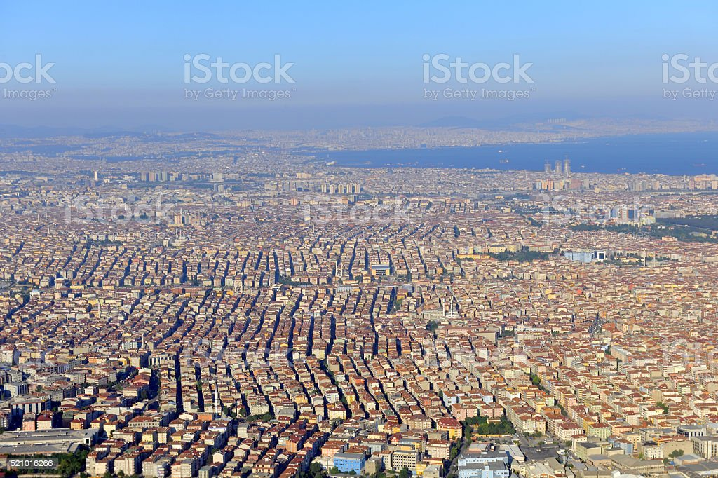 View of the city from the aircraft, Istanbul, Turkey stock photo