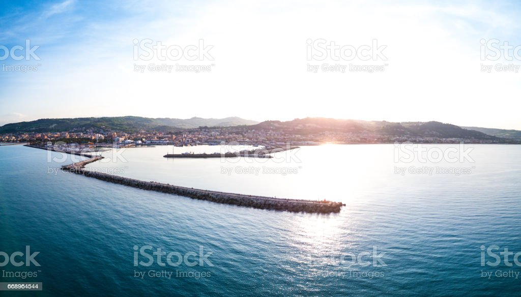 View of the city harbor in San Benedetto del Tronto - Italy on the Adriatic coast foto stock royalty-free