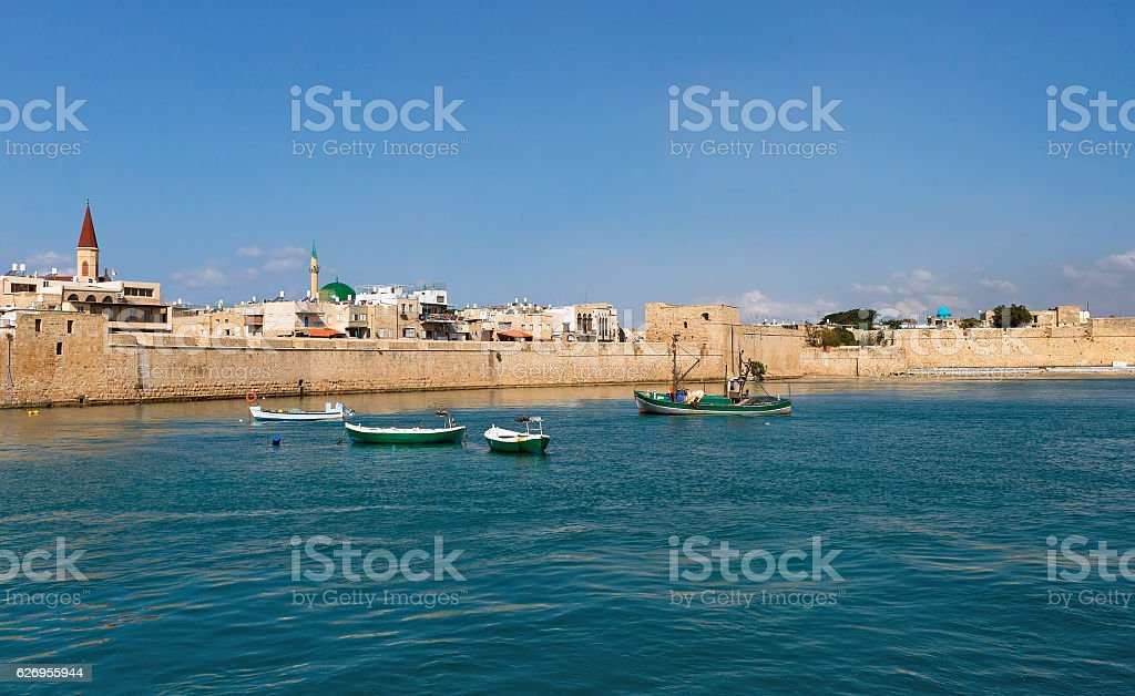 View of the city of Akko stock photo