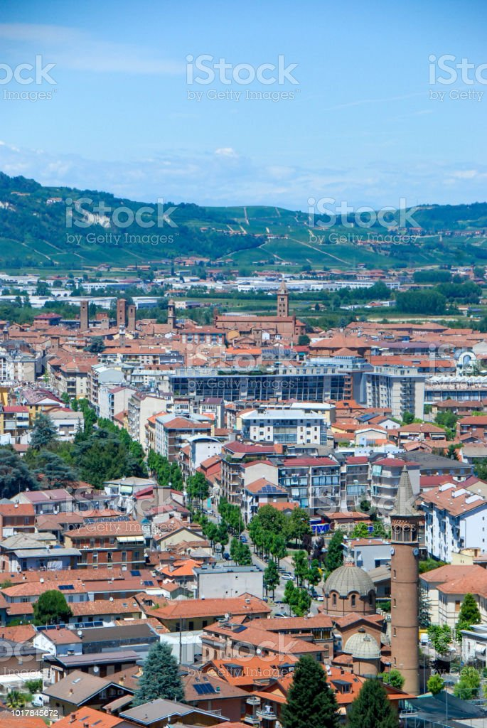 View of the city of Alba, Piedmont - Italy - foto stock
