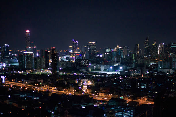 View of the city of Bangkok, Thailand after sunset stock photo