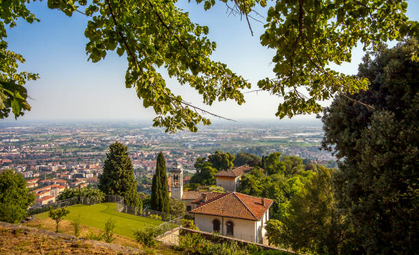 View of the city of Bergamo in Lombardy Italy from the old town of La Citta Alta stock photo