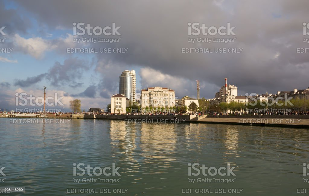 View of the city of Novorossiysk from the Tsemess bay. Russia stock photo