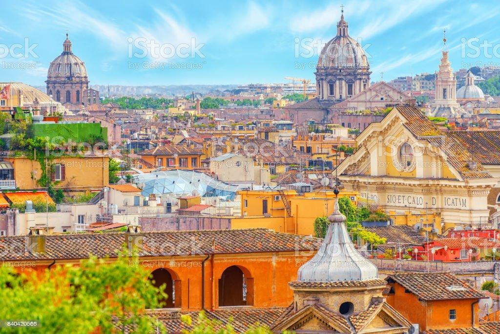 Vista De La Ciudad De Roma Desde Arriba Desde La Colina De