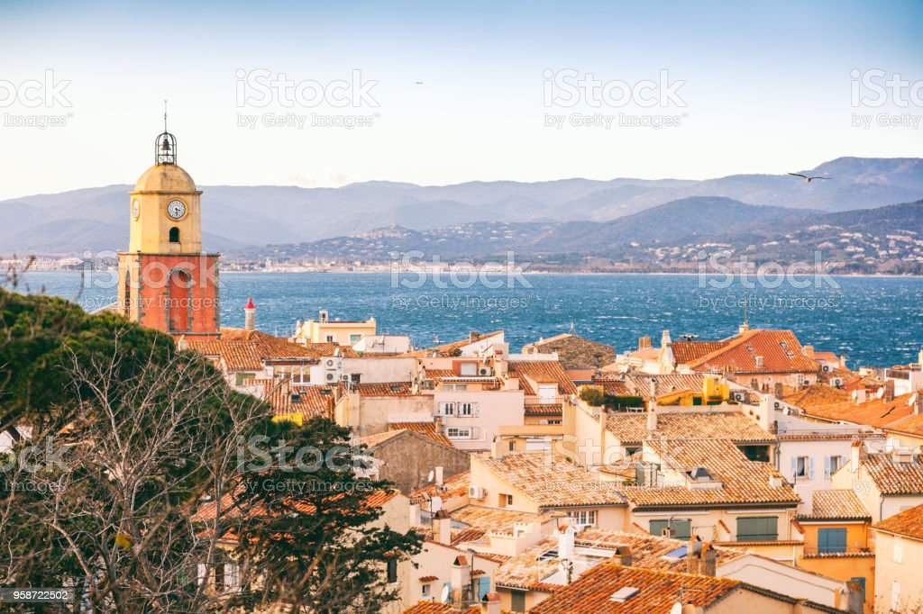 View of the city of Saint-Tropez, Provence, Cote d'Azur, a popular destination for travel in Europe stock photo