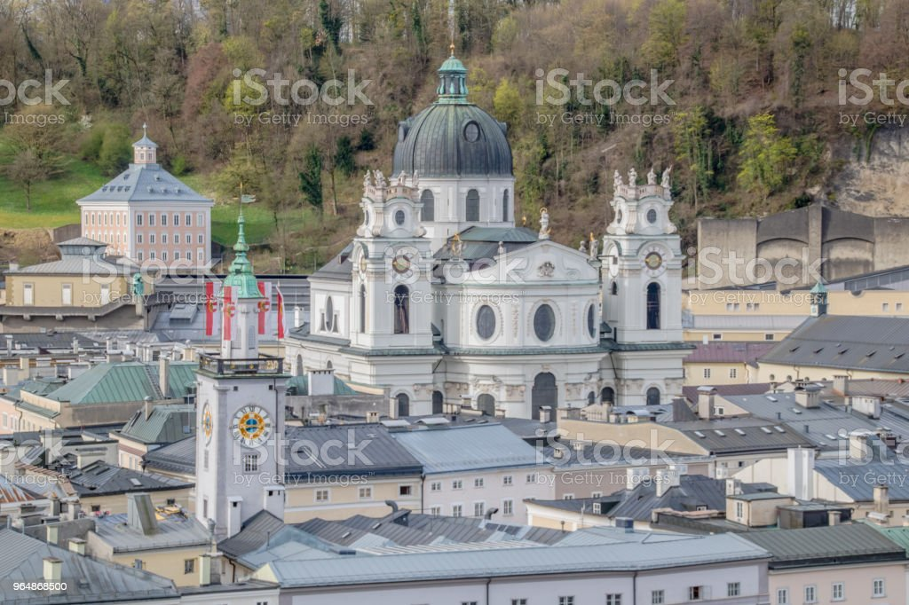 View of the city of Salzburg from the Capuchin mountain in Austria, Spring Time royalty-free stock photo