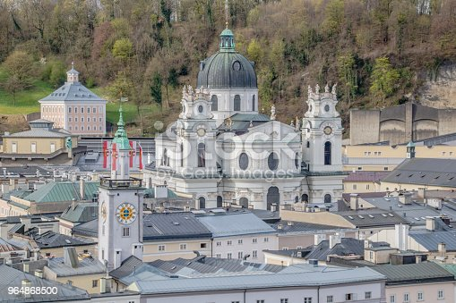View Of The City Of Salzburg From The Capuchin Mountain In Austria Spring Time Stock Photo & More Pictures of Architecture