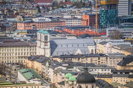 View Of The City Of Salzburg From The Fortress Hohensalzburg In Austria Spring Time Stock Photo & More Pictures of Architecture