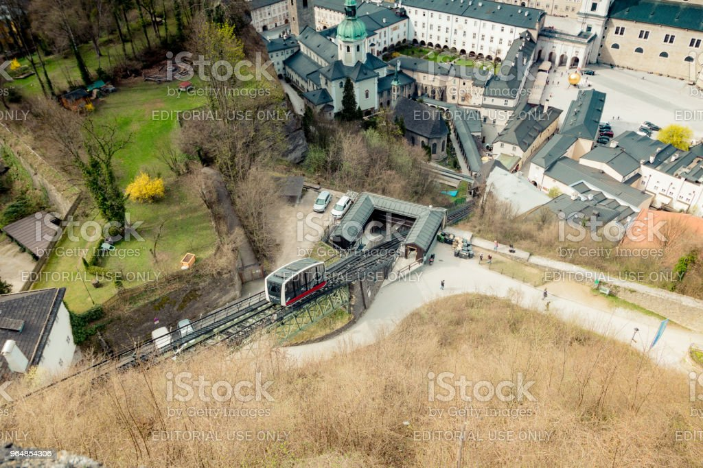 View of the city of Salzburg from the fortress Hohensalzburg in Austria, Spring Time royalty-free stock photo