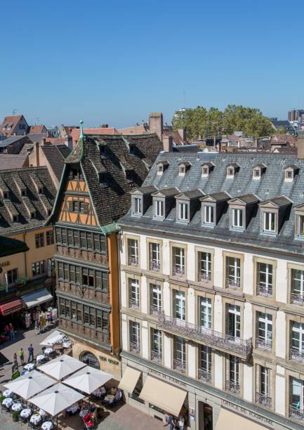 View of the city of Strasbourg from above as seen from top of Notre Dame cathedral stock photo