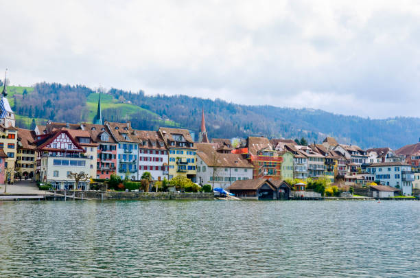 View of the city of Zug from Lake Zug. Zug is a city in Switzerland. embankment of Lake Zug in the city of Zug zug stock pictures, royalty-free photos & images