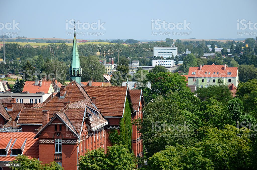 View of the city (Gizycko in Poland) stock photo