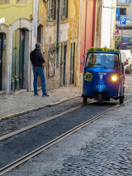 里斯本市中心街道上的城市景觀圖像檔