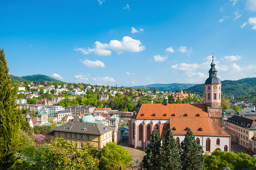 View of the city with collegiate church in Baden-Baden