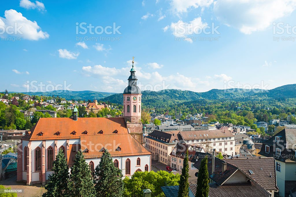 View of the city with collegiate church in Baden-Baden stock photo