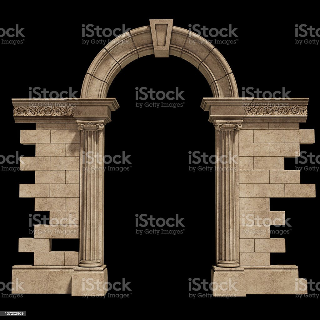 View of the classic arch isolated on a black background royalty-free stock photo