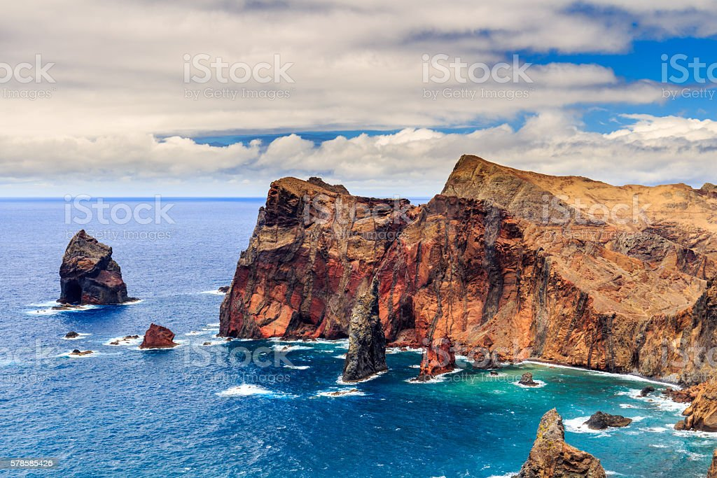 View of the cliffs at Ponta de Sao Lourenco stock photo