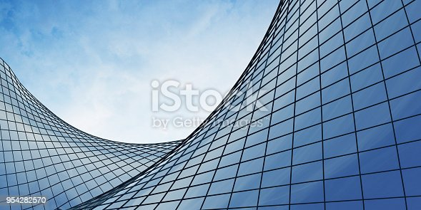 View of the clouds reflected in the curve glass office building. 3d rendering