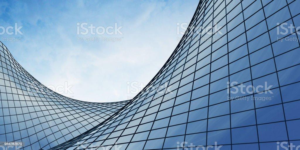 Vue des nuages se reflète dans l'immeuble de bureaux de verre courbe. rendu 3D - Photo