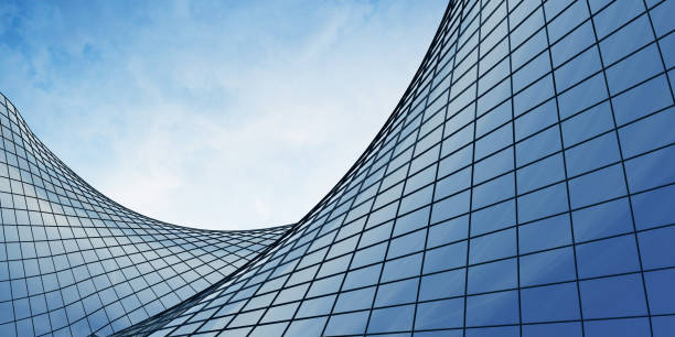 view of the clouds reflected in the curve glass office building. 3d rendering - grid pattern stock photos and pictures