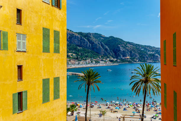 View of the coast at Menton (Nice, Provence-Cote d'Azur, France). stock photo