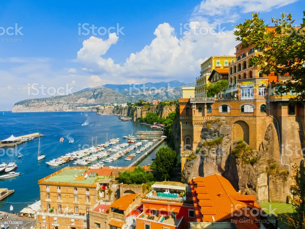 View of the coast in Sorrento, Italy. stock photo