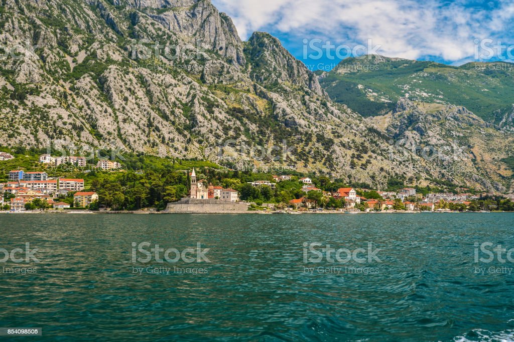 View of the coast of the Bay of Kotor stock photo