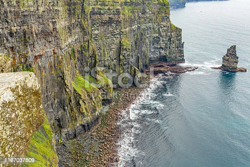 View of the coast of the Cliffs of Moher and the Branaunmore sea stack, geosites and geopark, Wild Atlantic Way, wonderful cloudy spring day in county Clare in Ireland