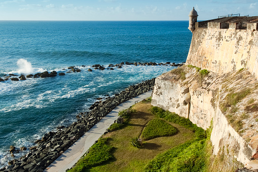 View of the coastline and outside wall of Fort El Morro in San Juan, Puerto Rico