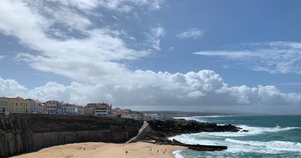 View of the coastline and some houses stock photo