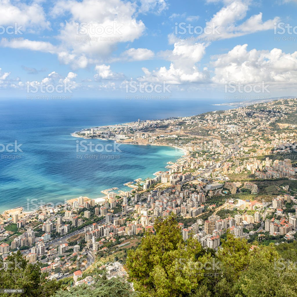 View of the coastline from Harissa, Lebanon – Foto