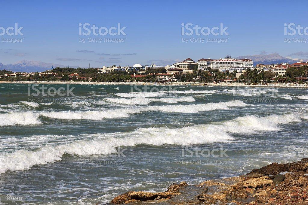 View of the coastline, Side, Turkey stock photo