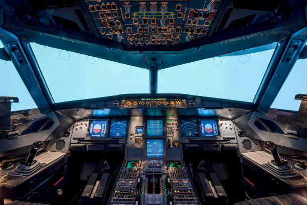 a view of the cockpit - cockpit stock photos and pictures