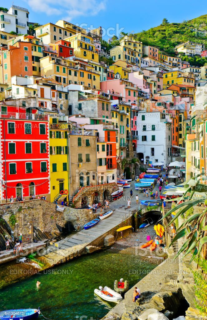 View of the colorful houses in Riomaggiore, Italy stock photo