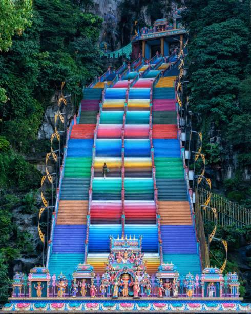 View of the colorful steps of Batu Caves in  Kuala Lumpur Kula Lumpur , Malaysia : October the 8th , 2019 : View of the colorful steps of Batu Cave batu caves stock pictures, royalty-free photos & images