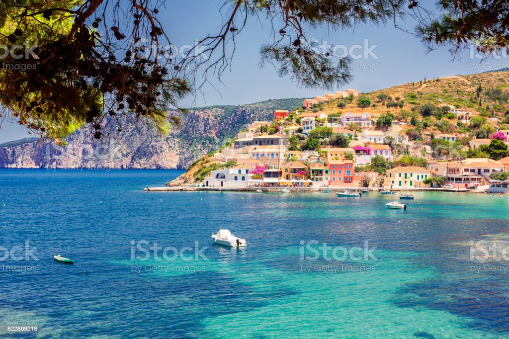 View of the colorful village of Assos in Kefalonia, Greece stock photo