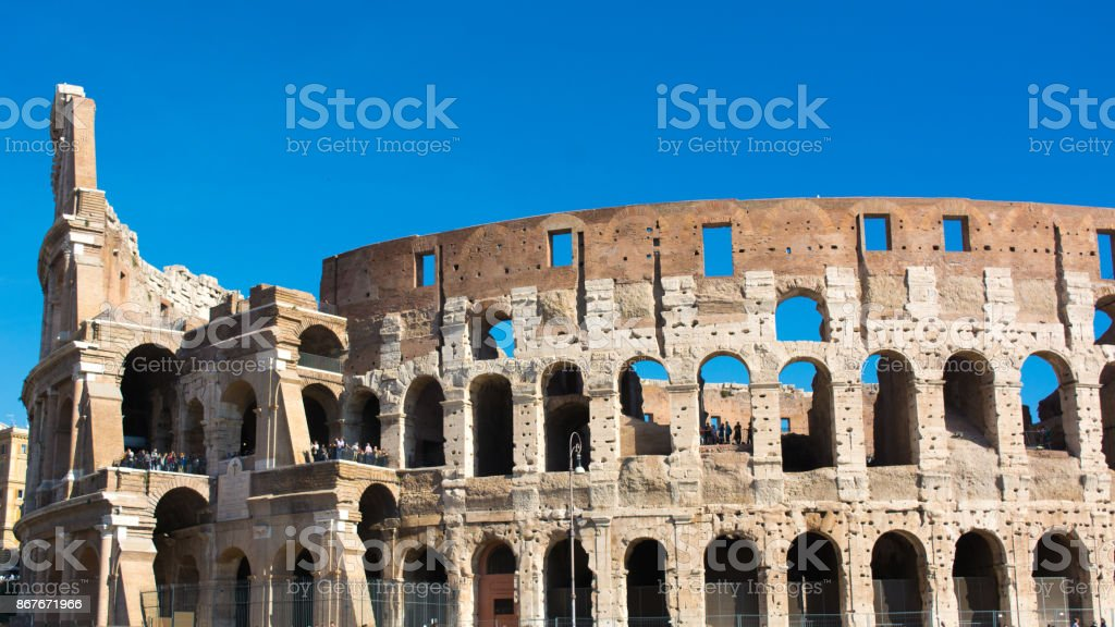 view of the colosseum in rome stock photo