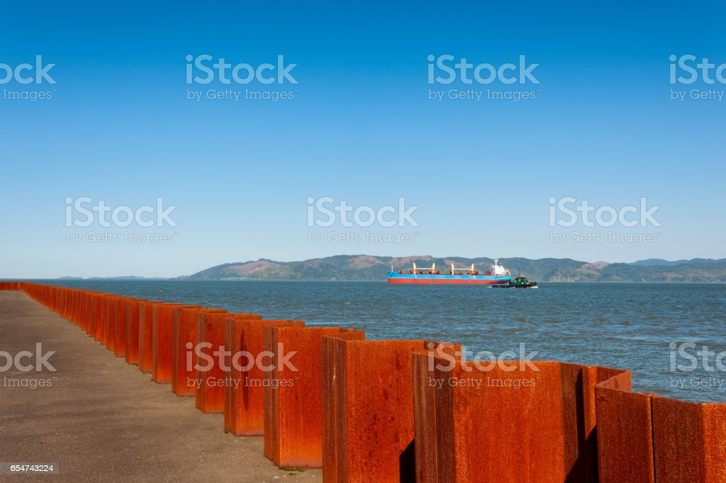 View of the Columbia River from Astoria's waterfront stock photo