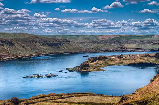 Vista del río Columbia - foto de stock