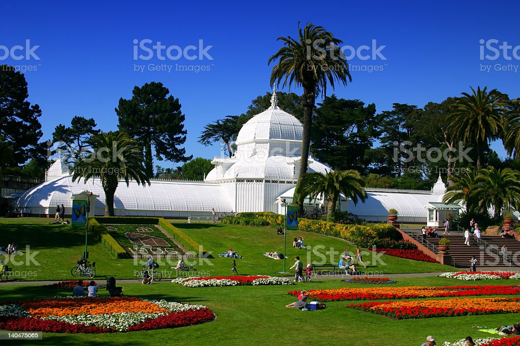 A view of the conservatory of flowers in San Francisco stock photo