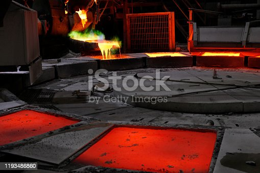 View of the copper casting in the smelting plant. Smelting is a process of applying heat to ore in order to extract a base metal.