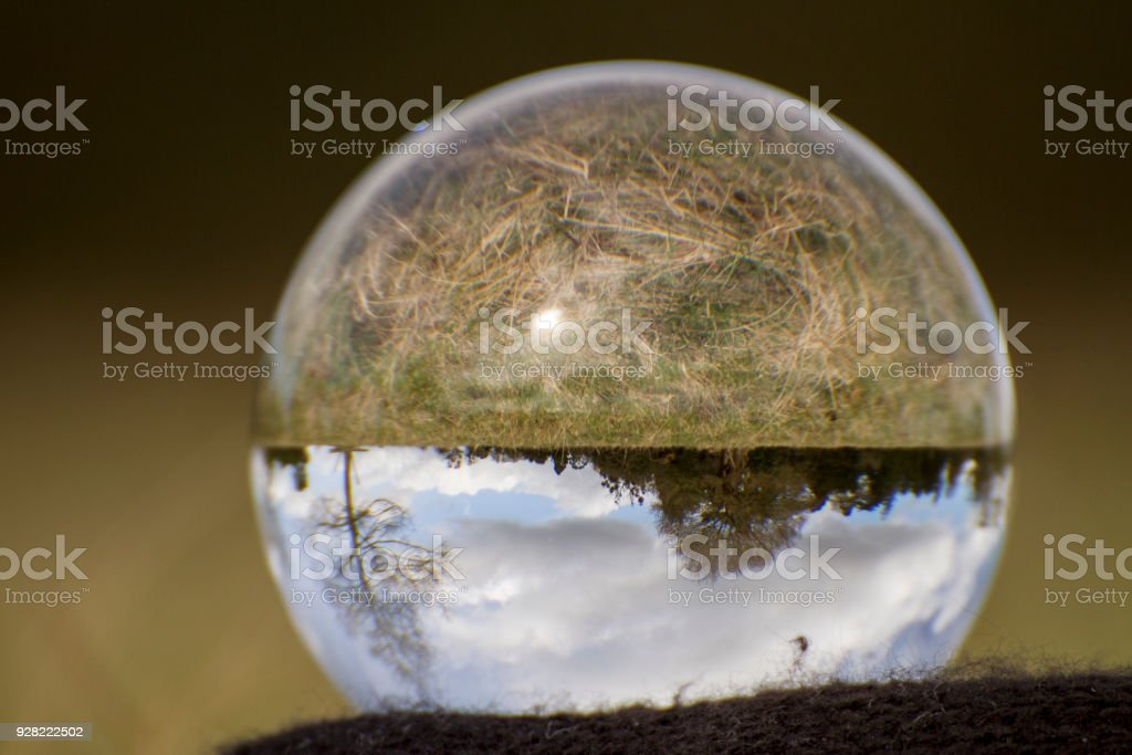 View of the countryside through a crystal ball stock photo