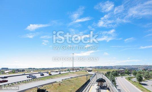 Denver, Colorado, USA-July 20, 2016.  View of the County Line light rail station.