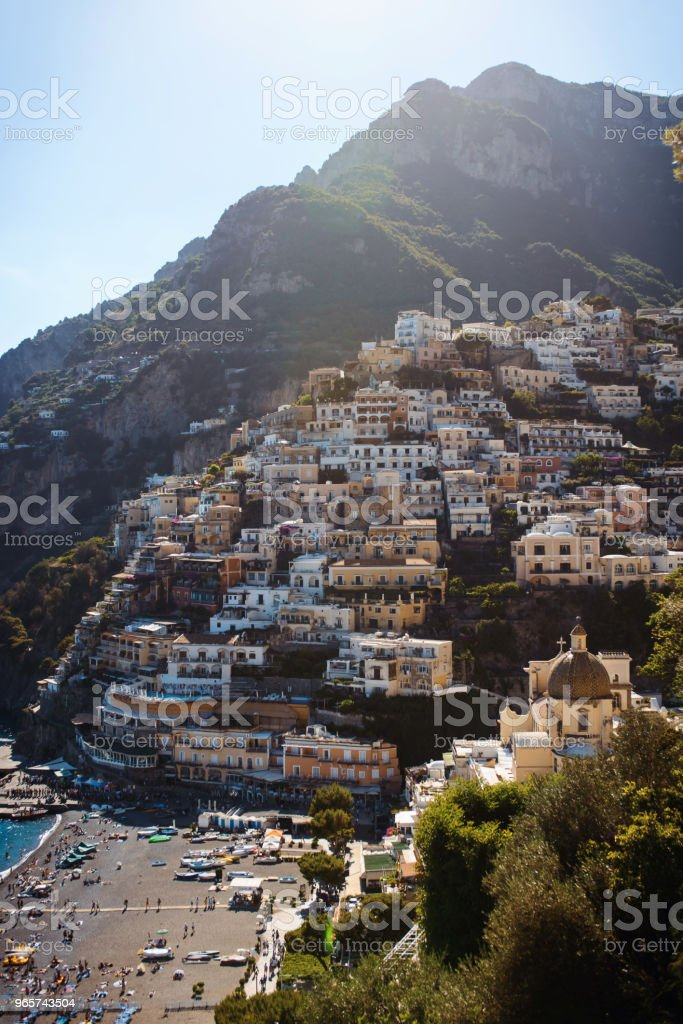 View of the cozy and cute town Positano on the Amalfi Coast, Italy at sunny summer day - Royalty-free Amalfi Stock Photo