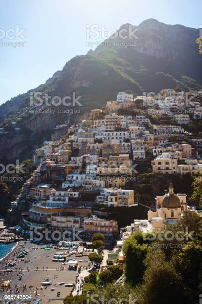 View Of The Cozy And Cute Town Positano On The Amalfi Coast Italy At Sunny Summer Day Stock Photo - Download Image Now