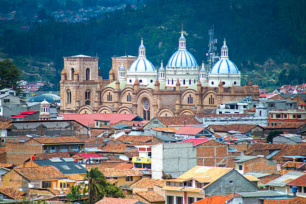 view of the cuenca cathedral - 에콰도르 뉴스 사진 이미지