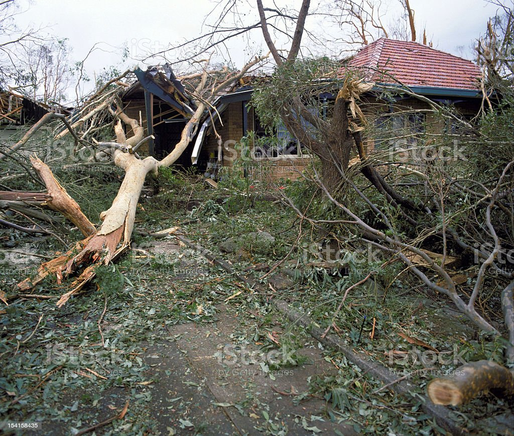 View of the damage that a storm had caused stock photo